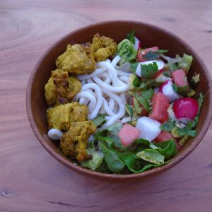 satay chicken with udon noodles and a simple summer salad